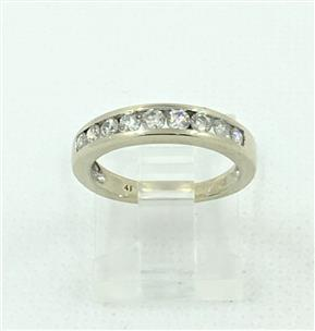 Diamond Channel Set Ring 9 Diamonds  72 Carat T W  14K